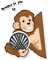 Antagonist Monkey holding an advanzweb logo